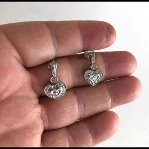 Diamond Dangle Heart Earrings Sterling Silver JTW